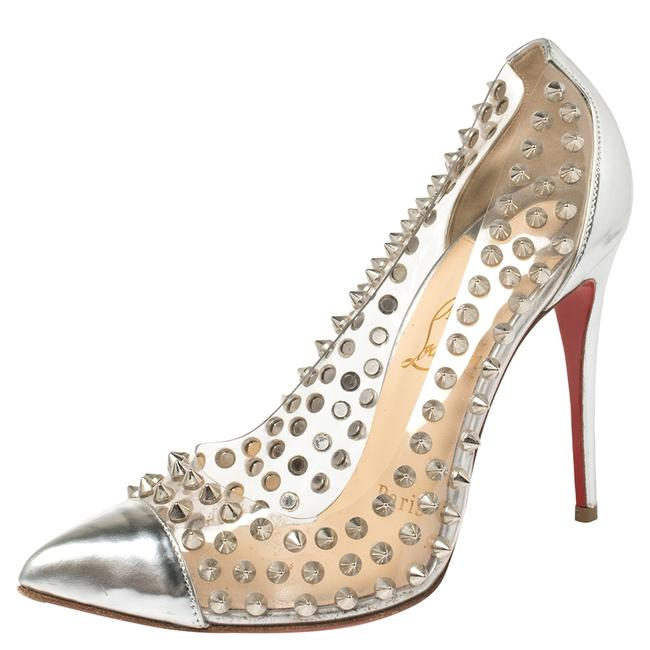 Item - Silver Patent Leather and Pvc Debout Pointed Size 36 Pumps