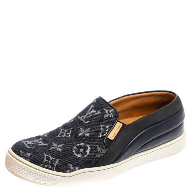 Item - Blue Monogram Denim and Leather Tempo Slip-on Sneakers Size 37.5 Athletic