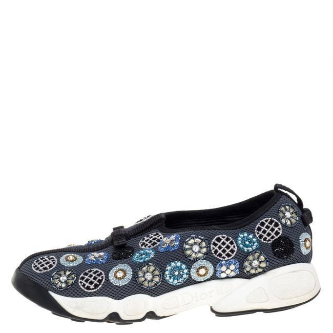 Item - Grey Mesh Fusion Embellished Sneakers Size 38.5 Athletic