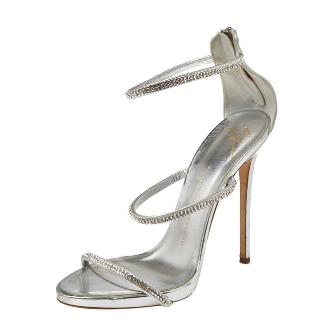 Item - Metallic Silver Leather Crystal Embellished Harmony Ankle Strap Size 41 Sandals