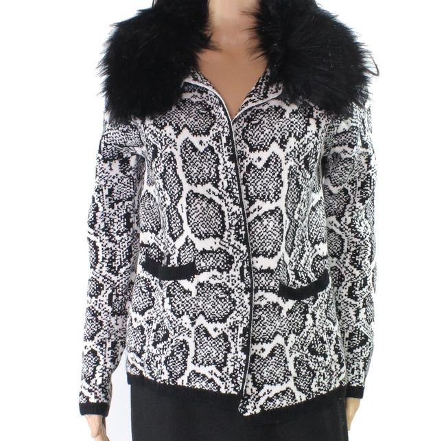 Item - Womens White Black Size Small S Cardigan Faux-fur Sweater/Pullover