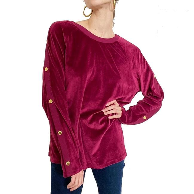 Item - XS Womens Burgundy Red Size Velvet Button Sweater/Pullover
