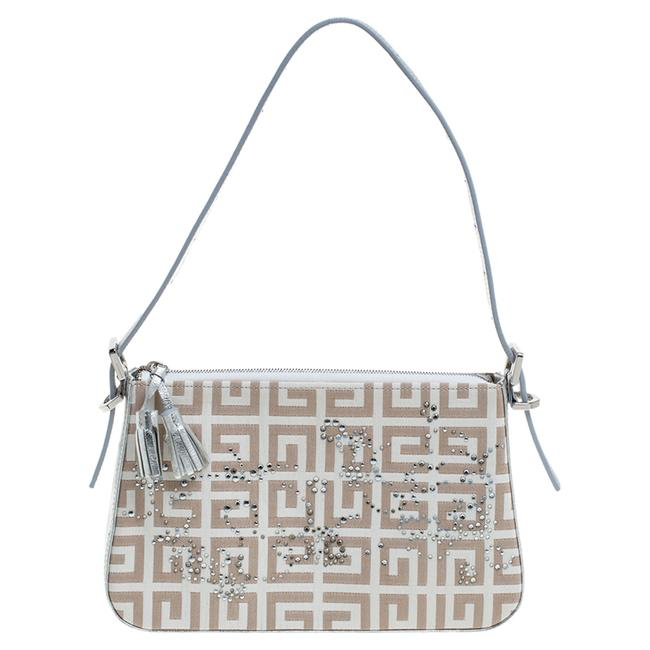 Item - Silver/Beige Signature Canvas and Leather Small Baguette Shoulder Bag