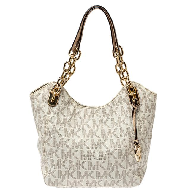 Item - White Signature Coated Canvas Lilly Tote