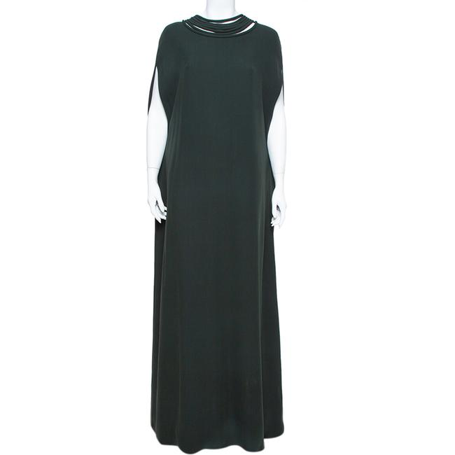 Item - L Dark Green Crepe Corded Neckline Caped Casual Maxi Dress