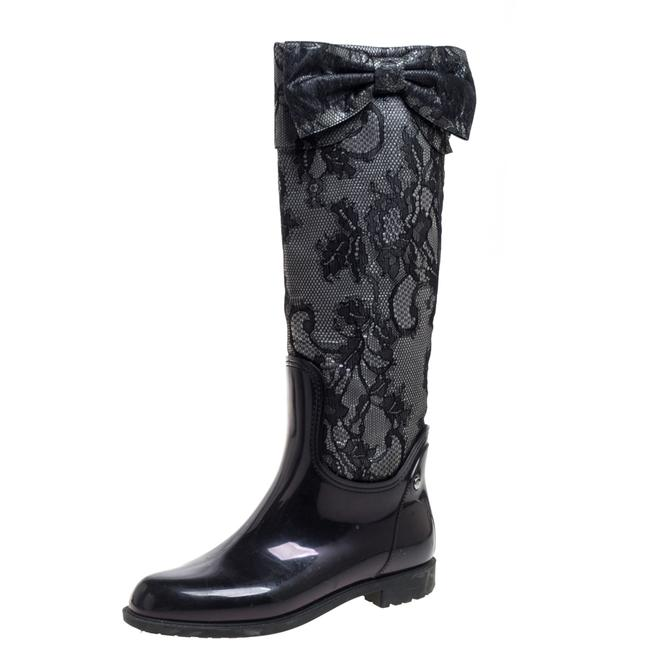Item - Grey/Black Lace and Rubber Rain High Size 39 Boots/Booties