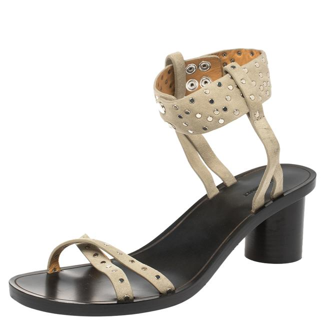 Item - Pale Green Suede Joakee Studded Ankle Strap Size 38 Sandals