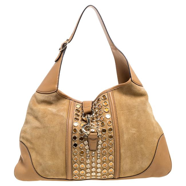 Item - Jackie Suede and Leather O Grommet Hobo Bag