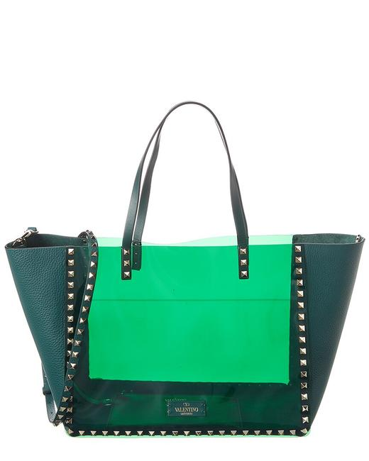 Item - Rockstud Pvc & Leather B0h21 Pky Js8 Tote
