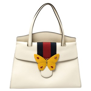 Gucci Linea White Leather Medium Web Butterfly Tote