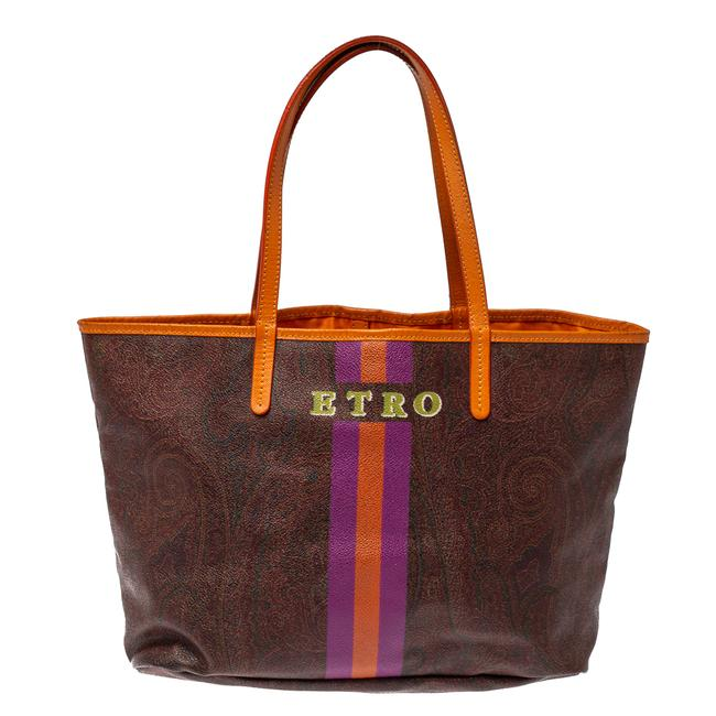 Item - Brown/Orange Paisley Coated Canvas Small Shopper Tote