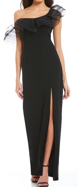 Item - Women's Black Size 4 One-shoulder Front-slit Gown Night Out Dress