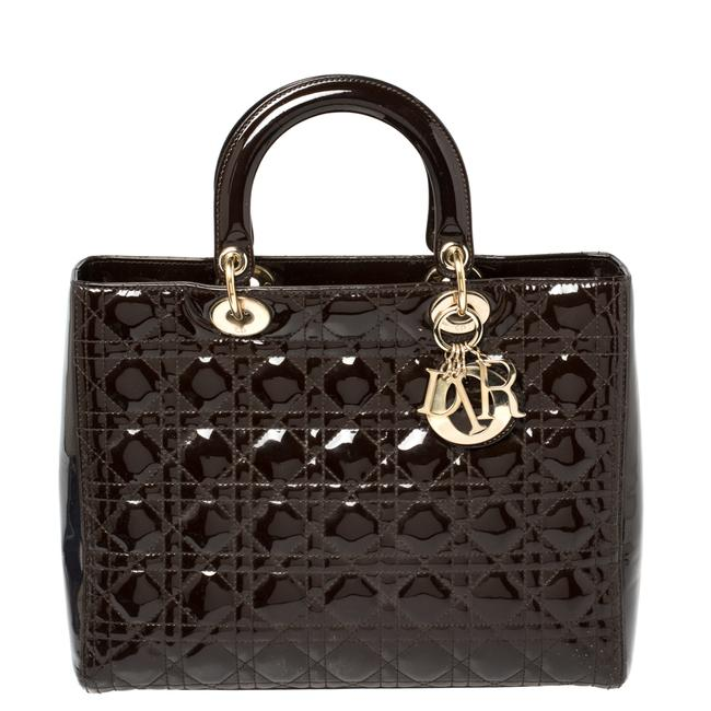 Item - Lady Brown Cannage Patent Leather Large Tote