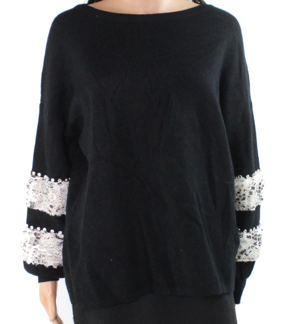 Item - Womens Black Size Small S Snake Textured Sleeve Boat Sweater/Pullover