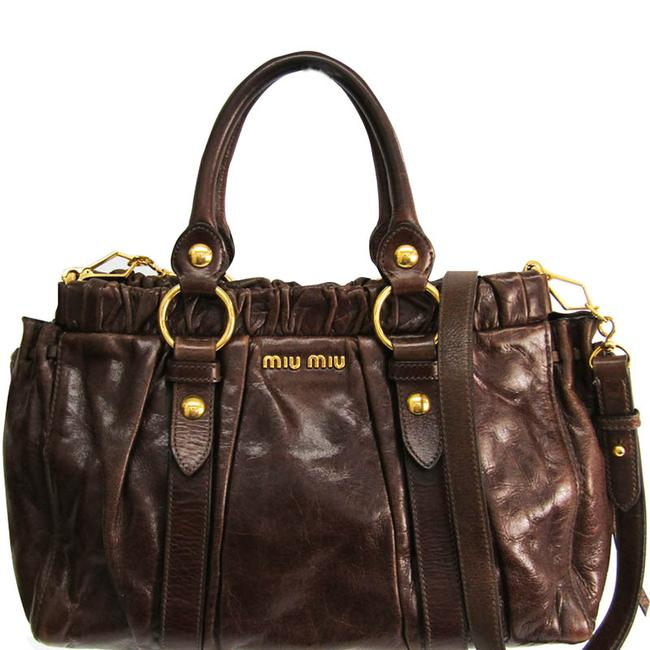 Item - Top Handle Bag Brown Vitello Lux Leather Wristlet