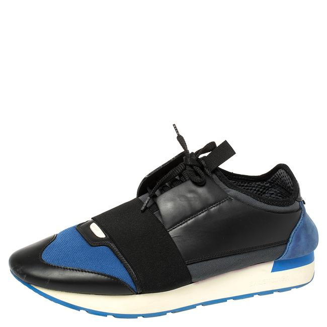 Item - Black/Blue Leather and Mesh Race Runners Sneakers Size 41 Athletic