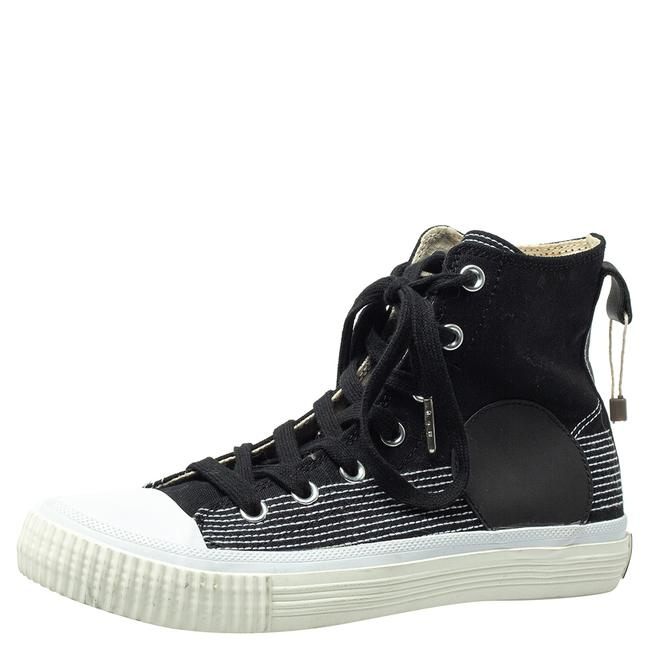 Item - Black Canvas and Leather Swallow Plimsoll High Top Sneakers Size 40 Athletic