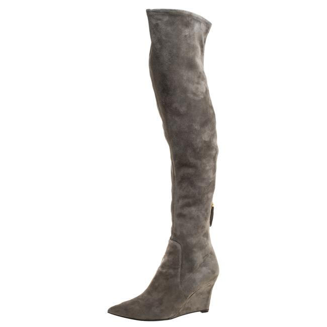 Item - Grey Suede Over The Knee Wedge Size 37.5 Boots/Booties