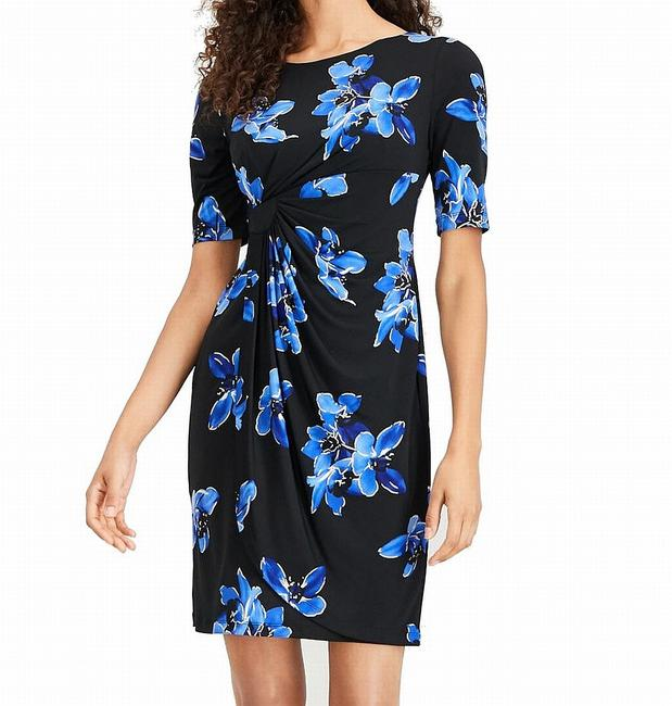Item - Twist Women's Black Size 12p Petite Sheath Floral Cocktail Dress