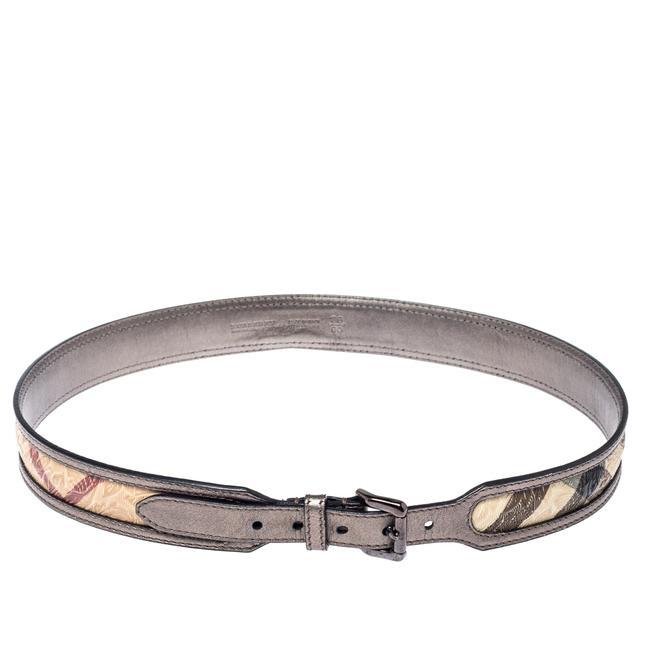 Item - Metallic Grey/Beige Floral Embossed Check Canvas and Leather Trim 90cm Belt