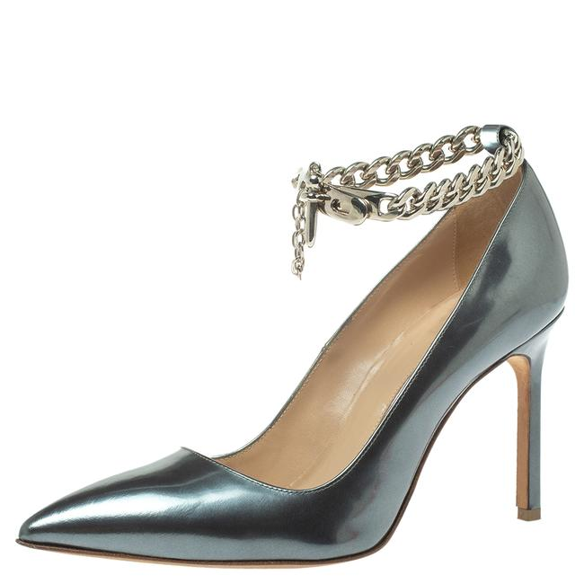 Item - Grey Metallic Leather Chain Link Pointed Size 37 Pumps