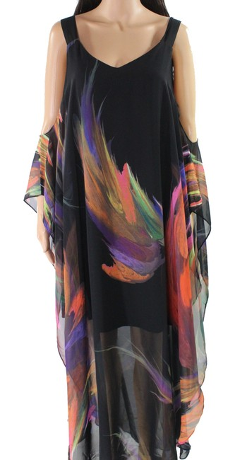 Item - L Women's Maxi Black Size Large Abstract Printed V-neck Cocktail Dress
