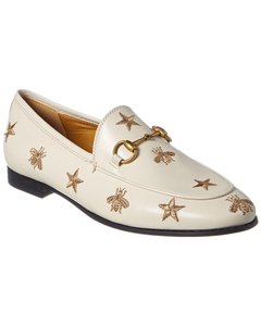 Gucci Jordaan Bees & Stars Embroidered Leather 505281 D3v00 9022 Loafers