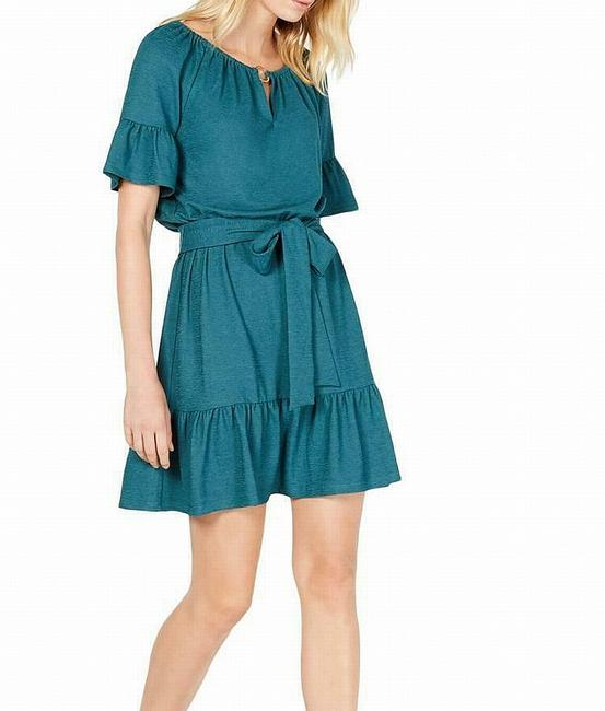 Item - Women's Green Size Medium Pm Petite A-line Belted Cocktail Dress