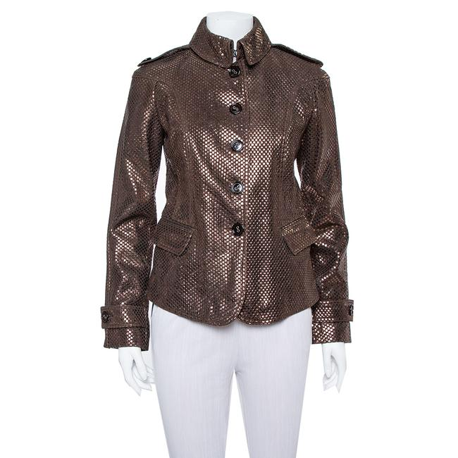 Item - Brown Metal Embossed Leather Button Front Jacket