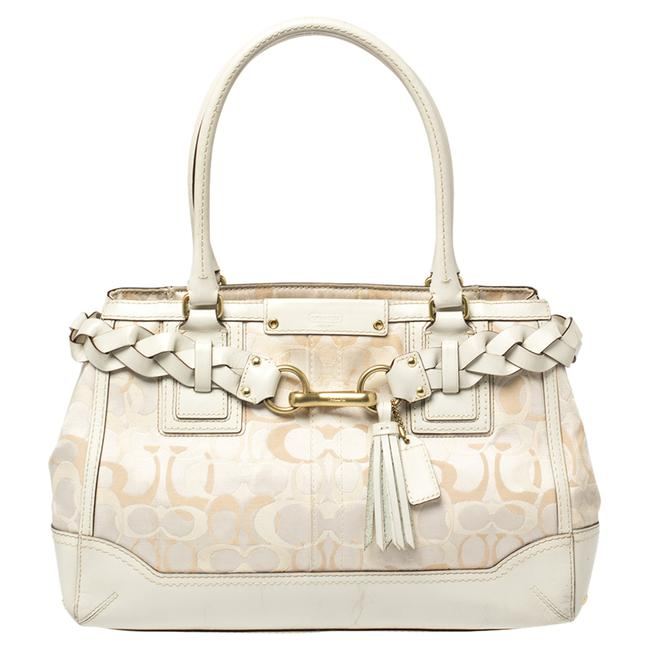 Item - White Signature Canvas and Leather Hampton Braided Tote