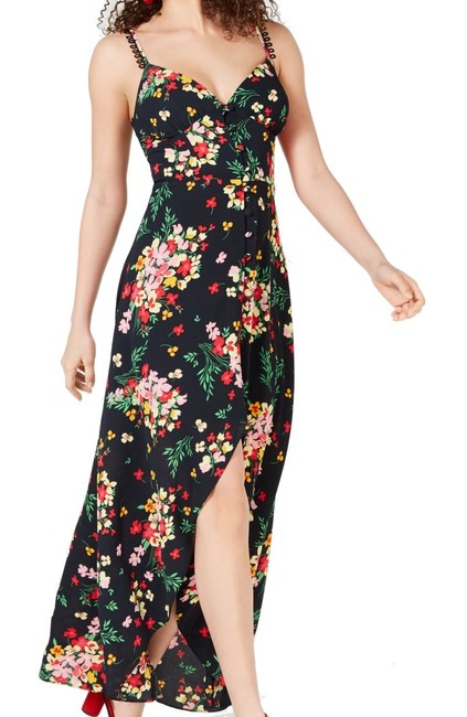 Item - Black Size 0 Junior's Maxi Button Front Hi Low Floral Cocktail Dress