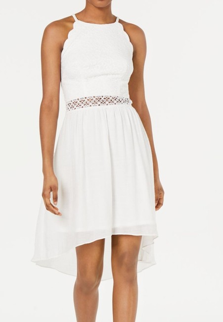 Item - White Size 3 Junior High-low Scallop Edge A-line Halter Cocktail Dress