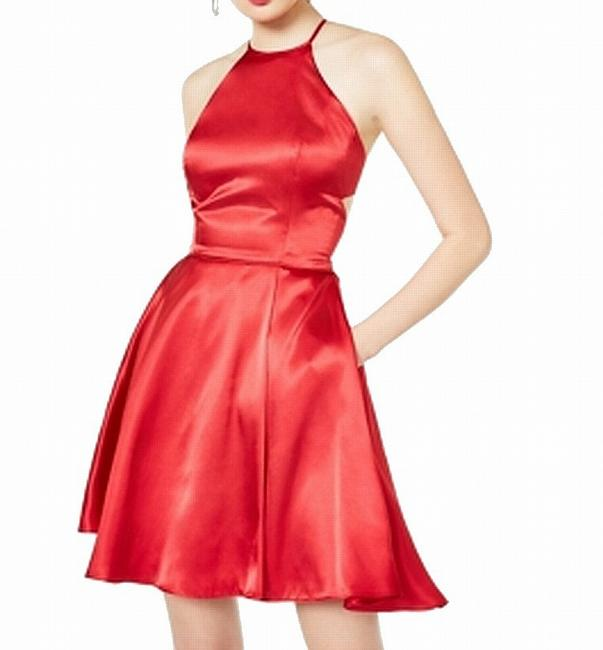Item - Red Size 5 Juniors' A-line Tie-back Satin Haltered Cocktail Dress