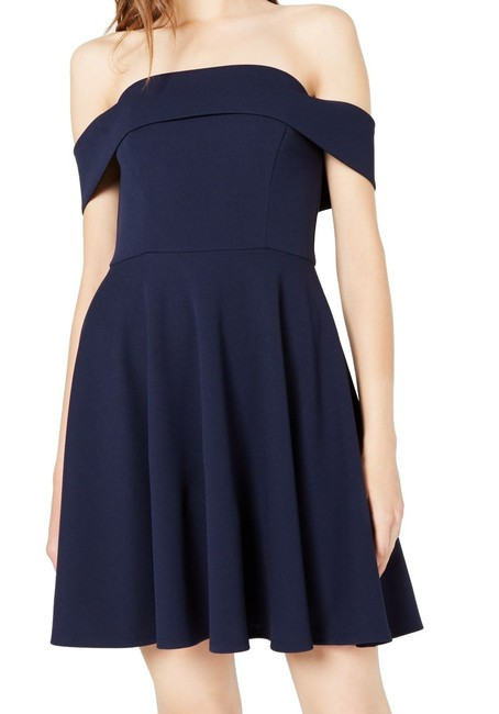 Item - Navy Blue Size 3 Junior A-line Fit & Flare Pleated Cocktail Dress