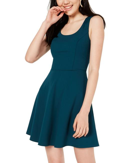 BCX Green Size 3 Juniors' Open-back Fit and Flare Ring Skater Cocktail Dress BCX Green Size 3 Juniors' Open-back Fit and Flare Ring Skater Cocktail Dress Image 1