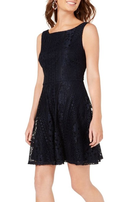 Item - Midnight Blue Size 13 Junior A-line Lace Boat Neck Cocktail Dress