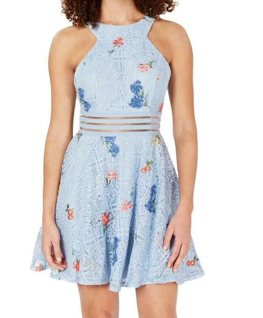 Item - Blue Size 7 Junior's A-line Lace Embroidered Floral Cocktail Dress