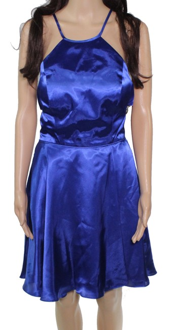 Item - Royal Blue Size 7 Junior A-line Strappy Back Satin Cocktail Dress