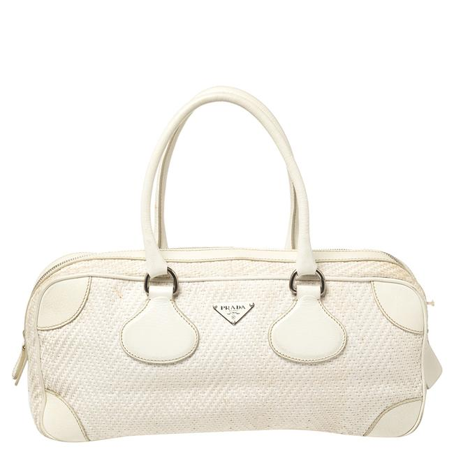 Item - Off White Woven Canvas and Leather Bowler Bag Satchel