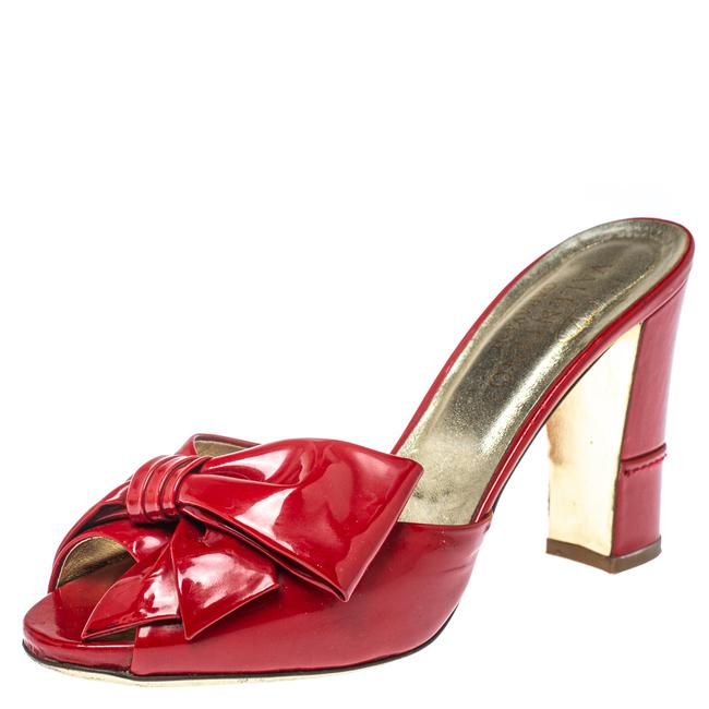 Item - Red Patent Leather Bow Slide Size 36 Sandals