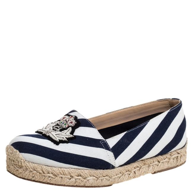 Item - Blue/White Striped Canvas Galia Espadrille Size 35 Flats