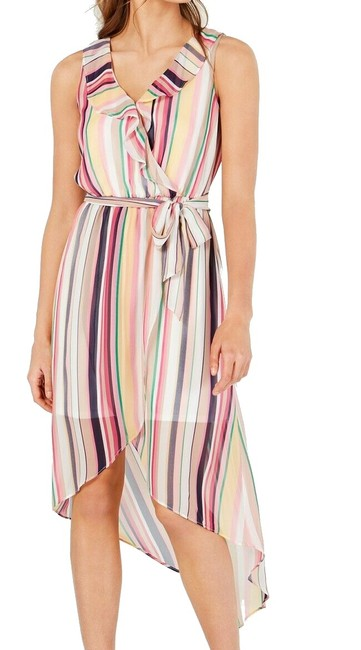 Item - Pink Size Small S Junior Sheath Striped Belted High-low Cocktail Dress