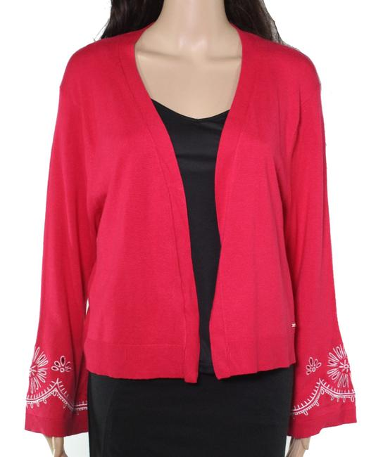 Item - Women's Red Size Medium M Embroidered Cardigan Sweater/Pullover