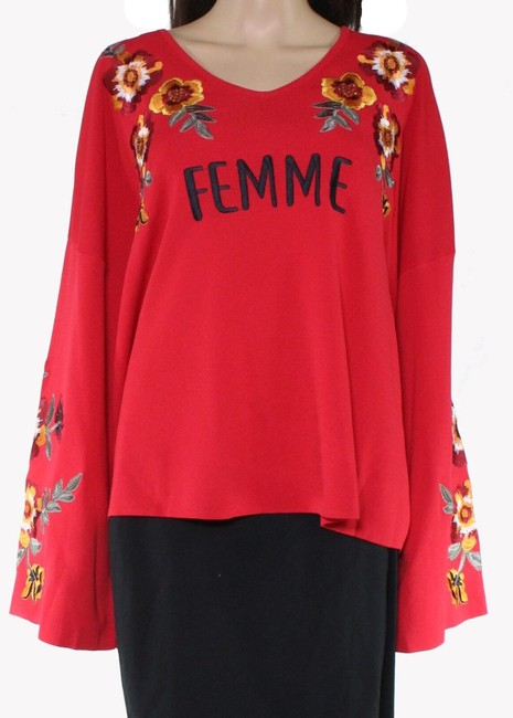 Item - Women's Red Size 1x Plus Bell Sleeve Floral Embroidered Sweater/Pullover