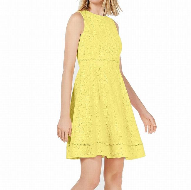 Item - Women's Bright Yellow Size 16p Petite A-line Eyelet Cocktail Dress