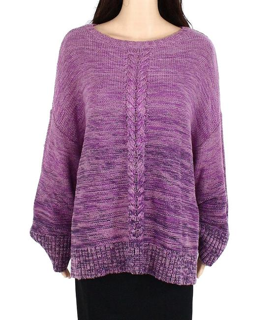 Item - Women's Purple Size 1x Plus Cable Marled Knit Crew Sweater/Pullover