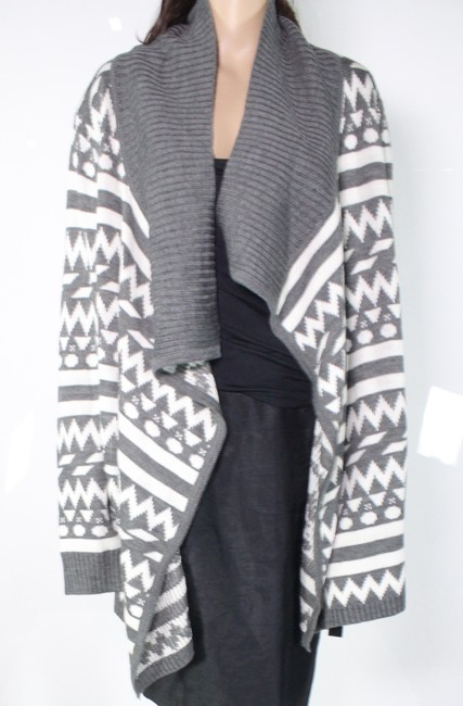 Item - Women's Gray Size 1x Plus Ribbed Knit Printed Cardigan Sweater/Pullover