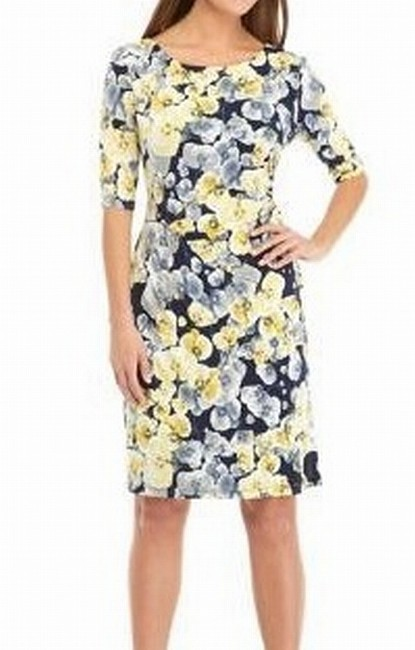 Item - Women's Blue Size 18w Plus Sheath Floral Elbow Sleeve Cocktail Dress