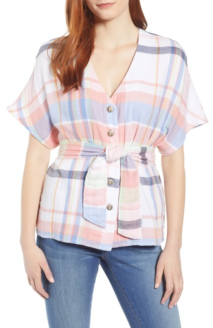 Item - Women's Shirt Pink Blue Size 1x Plus Plaid Belted Button-down Top