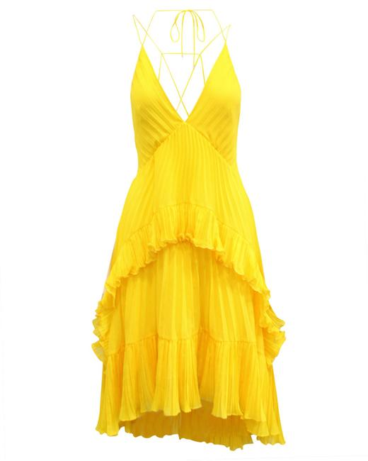 Item - Heritage Yellow Pleated Us2 Cocktail Dress